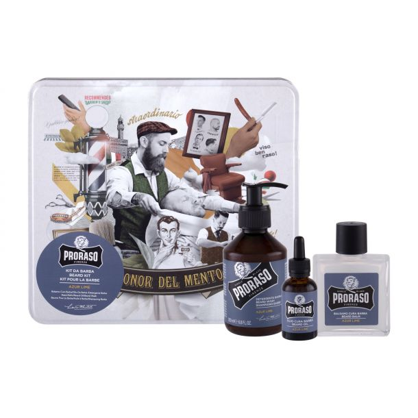 Proraso Azur Lime Beard Wash Shampoo 200ml + Beard Balm 100ml + Beard Oil 30ml + Jar