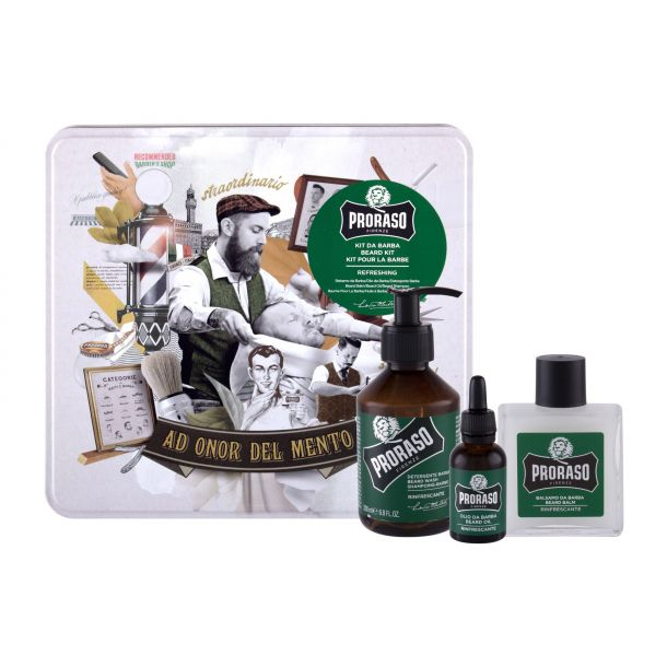 Proraso Eucalyptus Beard Wash Shampoo 200ml + Beard Balm 100ml + Beard Oil 30ml + Jar