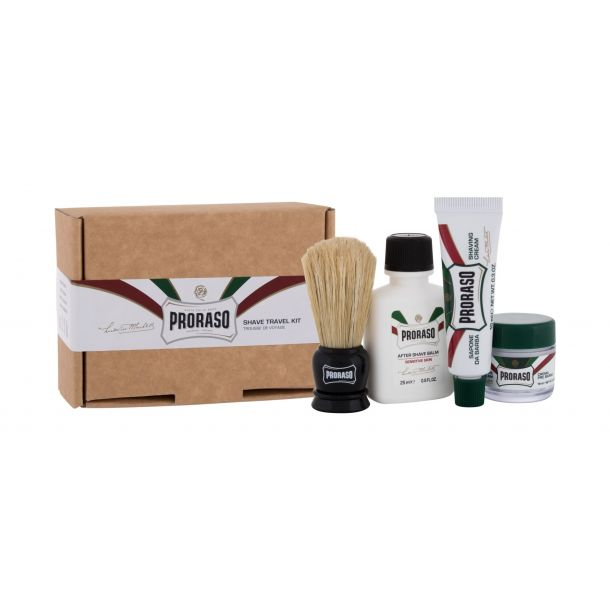 Proraso Shave Travel Kit Aftershave Balm 25ml Combo: Aftershave Balm Green 25 Ml + Pre-shave Cream Green 15 Ml + Shaving Cream Green 10 Ml + Shaving Brush