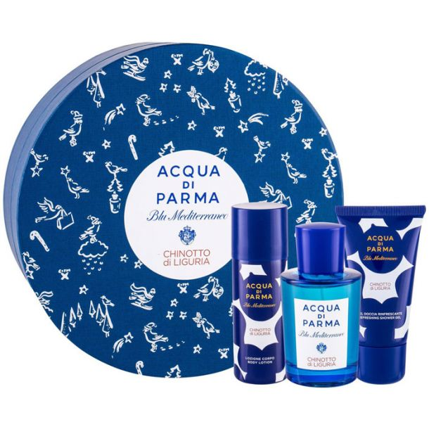 Acqua Di Parma Blu Mediterraneo Chinotto di Liguria Eau de Toilette 75ml Combo: Edt 75 Ml + Shower Gel 40 Ml + Body Lotion 50 Ml