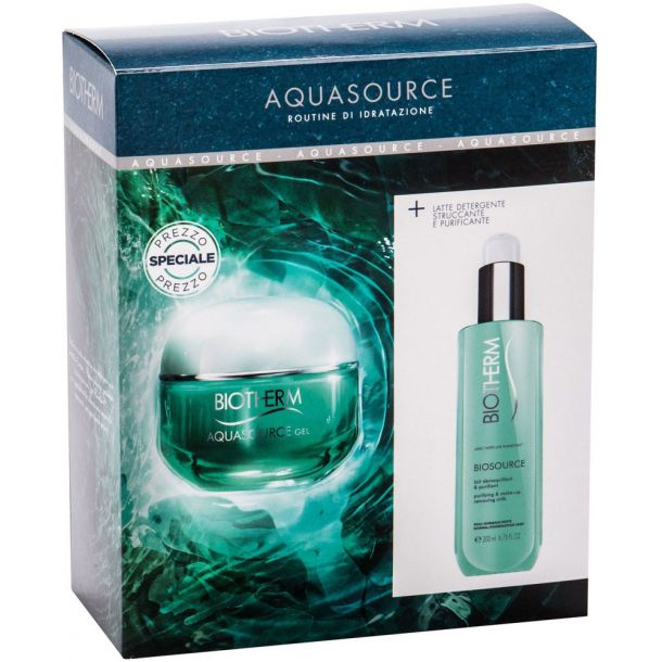 Biotherm Aquasource Facial Gel 50ml Combo: Day Care 50 Ml + Cleansing Milk Biosource 200 Ml (For All Ages)