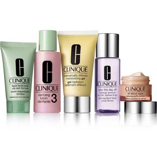Clinique Daily Essentials Combination Skin Facial Gel 50ml Combo: 50ml DDM Gel + 15ml All About Eyes + 30ml Liquid Facial Soap Mild + 60ml Clarifying Lotion 3 + 50ml Take The Day Off Makeup Remover (For All Ages)