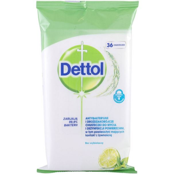 Dettol Antibacterial Cleansing Surface Wipes Lime & Mint Antibacterial Product 36pc