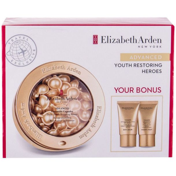 Elizabeth Arden Ceramide Daily Youth Restoring Skin Serum 60pc Combo: Skin Serum 60 Pcs + Day Care 15 Ml + Night Care 15 Ml (Wrinkles)