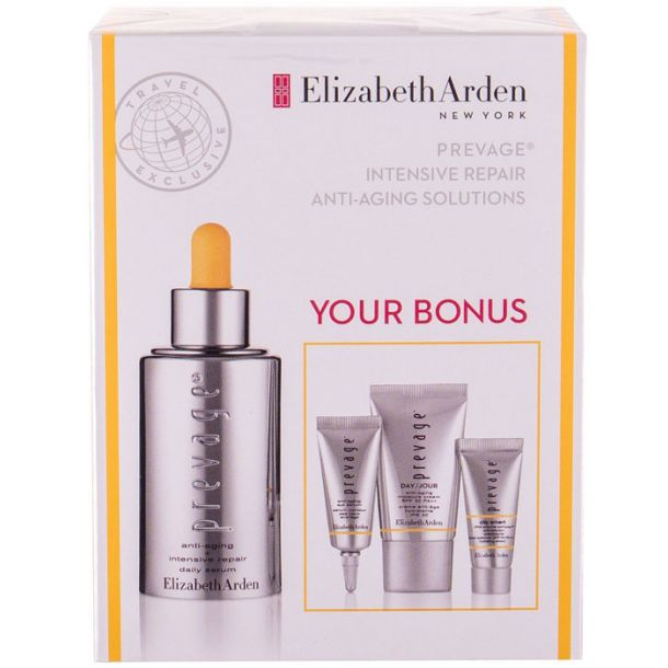 Elizabeth Arden Prevage Anti Aging Daily Serum Skin Serum 30ml Combo: Skin Serum 30 Ml + Day Care SPF30 15 Ml + Eye Serum 5 Ml + Day Protective Care SPF50 5 Ml (For All Ages)