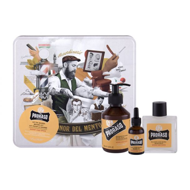 Proraso Wood & Spice Beard Wash Shampoo 200ml + Beard Balm 100ml + Beard Oil 30ml + Jar