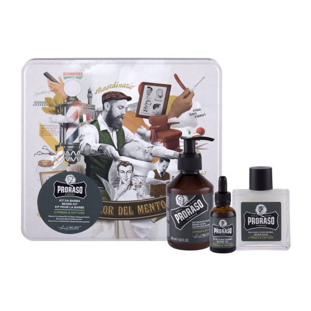 Proraso Cypress & Vetyver Beard Wash Shampoo 200ml + Beard Balm 100ml + Beard Oil 30ml + Jar