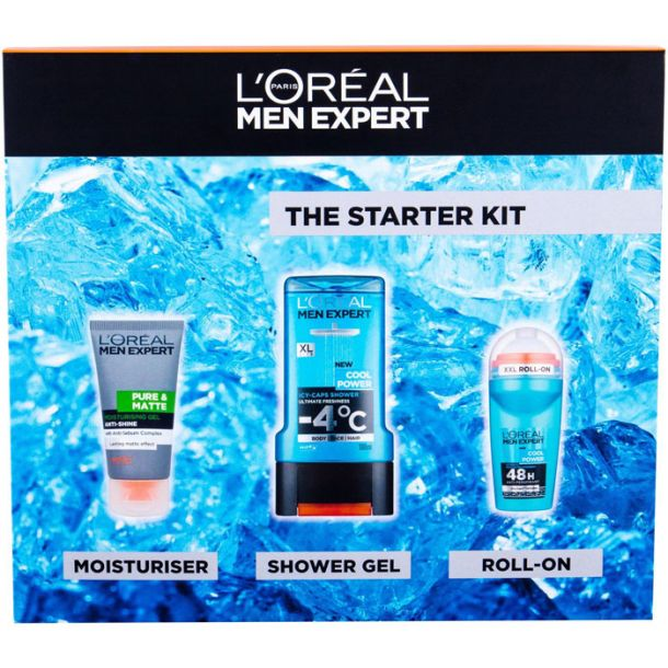 L´oréal Paris Men Expert Pure & Matte Facial Gel 50ml Combo: Hydrating Gel Pure & Matte 50 Ml + Shower Gel Cool Power 300 Ml + Deodorant Roll-on Cool Power 50 Ml (For All Ages)