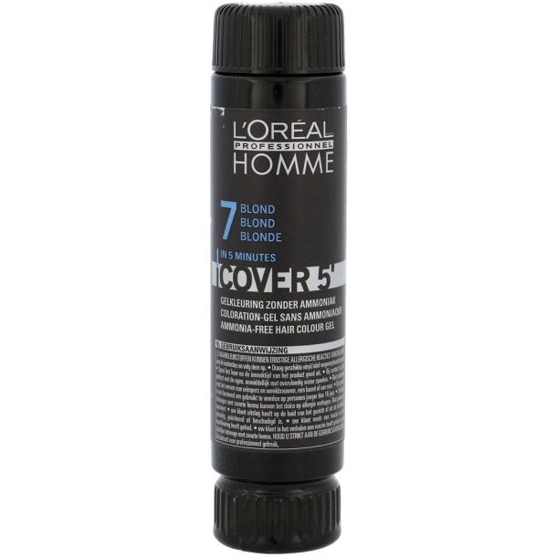 L´oréal Professionnel Homme Cover 5´ Hair Color 7 Medium Blond 3x50ml (Dry Hair)
