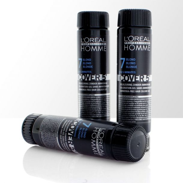 L´oréal Professionnel Homme Cover 5´ Hair Color 7 Medium Blond 3x50ml Damaged Box (Dry Hair)