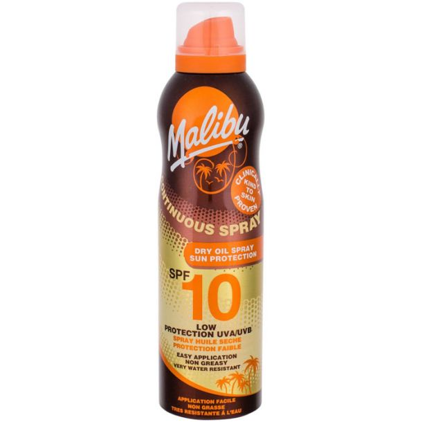 Malibu Continuous Spray Dry Oil SPF10 Sun Body Lotion 175ml (Waterproof)
