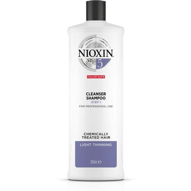 Nioxin System 5 Cleanser Color Safe Shampoo 1000ml (Colored Hair - Fine Hair)