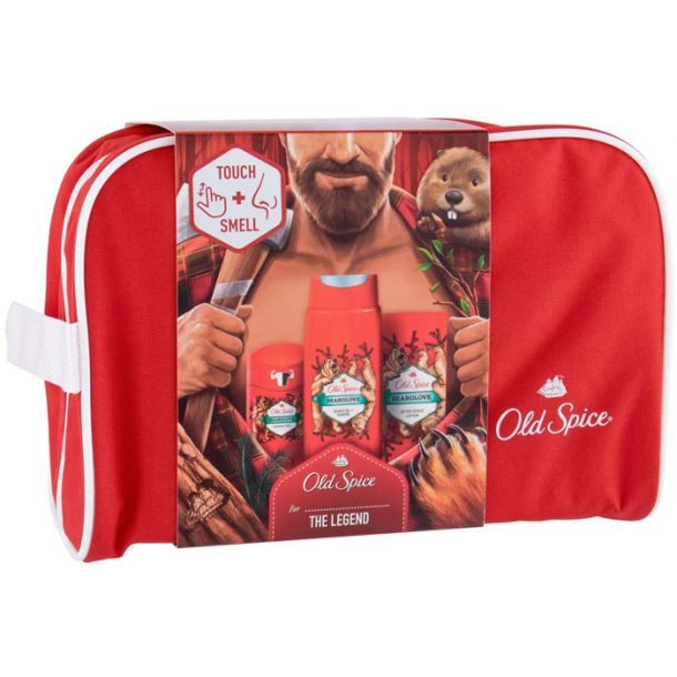 Old Spice Bearglove Aftershave Water 100ml Combo: Aftershave Water 100 Ml + Shower Gel 250 Ml + Deostick 50 Ml + Cosmetic Bag