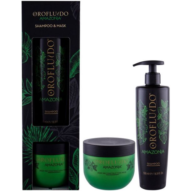 Orofluido Amazonia Shampoo 500ml Combo: Shampoo 500 Ml + Hair Mask 500 Ml (Damaged Hair)