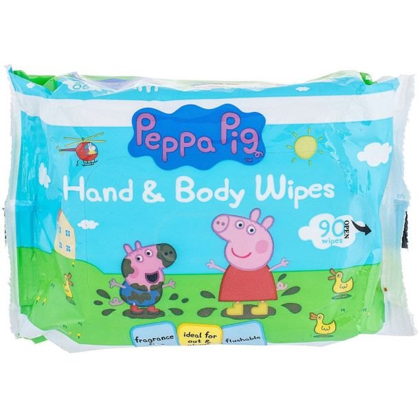 Peppa Pig Peppa Hand & Face Wipes Cleansing Wipes 90pc