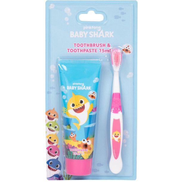 Pinkfong Baby Shark Toothbrush 1pc Combo: Toothbrush 1 Pc + Tooth Paste 75 Ml