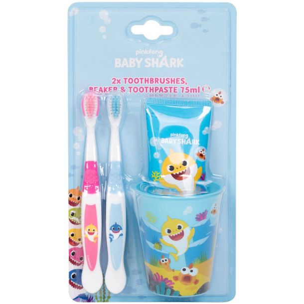 Pinkfong Baby Shark Set Toothpaste 75ml Combo: Tooth Brush 2 Pcs + Tooth Paste 75 Ml + Toothbrush Cup