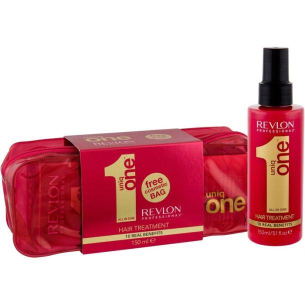 Revlon Professional Uniq One Hair Mask 150ml Combo: Hair Mask Without Rinsing 150 Ml + Cosmetic Bag (Weak Hair)
