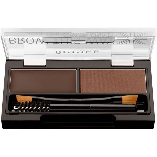 Rimmel London Brow This Way Set and Pallette For Eyebrows 003 Dark Brown 2,4gr