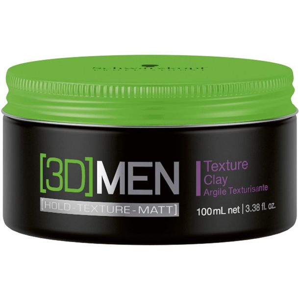 Schwarzkopf Professional 3DMEN Texture Clay For Definition and Hair Styling 100ml (Strong Fixation)