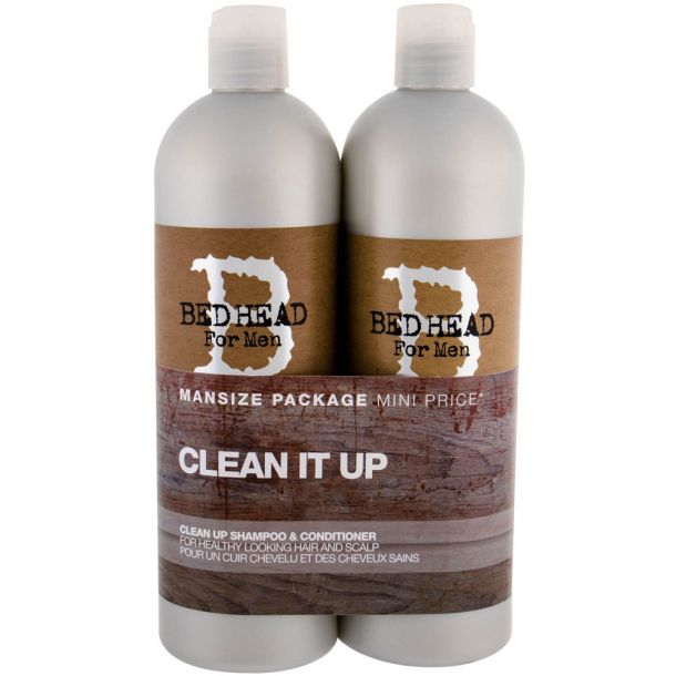 Tigi Bed Head Men Clean Up Shampoo 750ml Combo: 750ml Bed Head Men Clean Up Shampoo + 750ml Bed Head Men Clean Up Conditioner (All Hair Types)