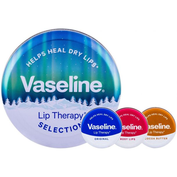 Vaseline Lip Therapy Lip Balm Cocoa Butter 20gr Combo: Lip Balm 20 G + Lip Balm 20 Rosy Lips + Lip Balm 20 G Original + Tin Box (For All Ages)
