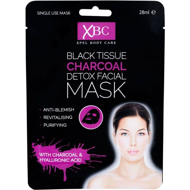 Xpel Body Care Black Tissue Charcoal Detox Facial Mask Face Mask 28ml (For All Ages)
